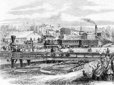 Arrival of first train of Atlantic and Great Western Railroad