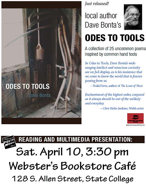 Odes to Tools poetry reading flyer