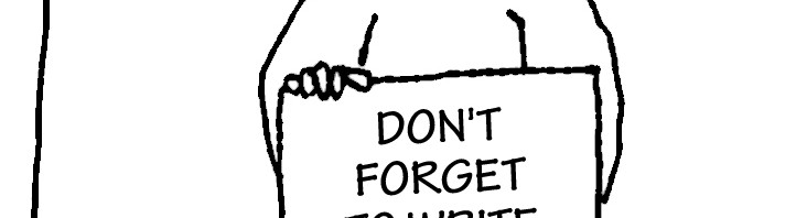 Homeless guy with sign: Don't forget to write