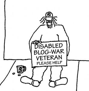 Street beggar with sign: DISABLED BLOG-WAR VETERAN - PLEASE HELP