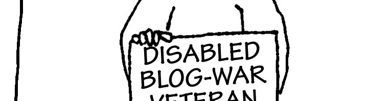 Street beggar with sign: DISABLED BLOG-WAR VETERAN - PLEASE HELP