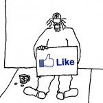 homeless guy with Facebook-like Like button on his sign
