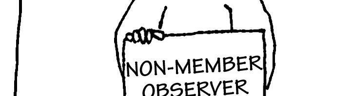 "Homeless guy with sign: ""Non-member observer."""