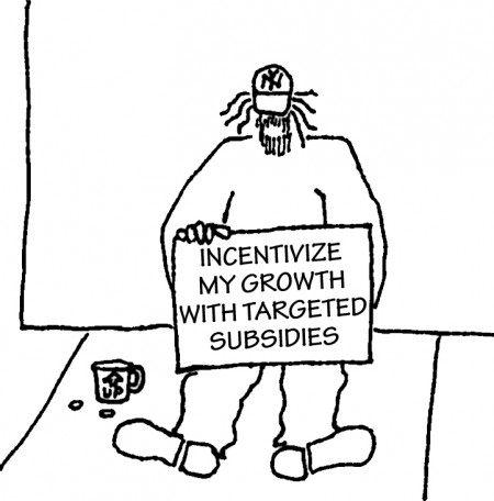 """Homeless guy with sign: """"Incentivize my growth with targeted subsidies."""""""