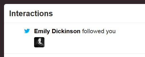 "screncap from Twitter: ""Emily Dickinson followed you"""