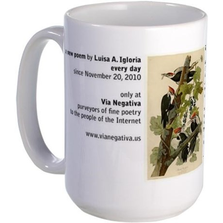 Audubon's full-color print of pileated woodpeckers paired with a poem by Luisa A. Igloria on a large mug (right side)
