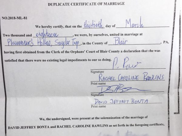 self-uniting marriage certificate