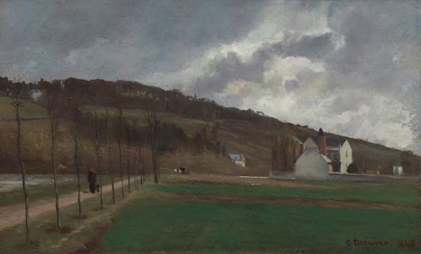 Painting: Bords de la Marne by Camille Pissarro, 1866