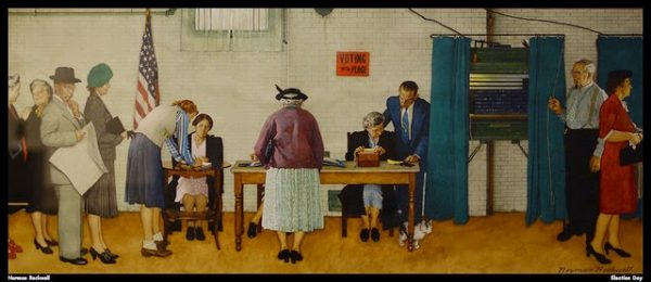 Normal Rockwell's painting of voters lined up at a polling station